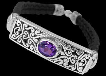 Men's Jewelry - Amethyst, Synthetic Leather and Sterling Silver Bracelet B710 - Sterling Silver Jewelry :  mens jewelry sterling silver sterling silver jewelry silver bracelets