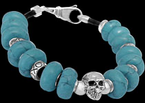 Beaded and Sterling Silver Skull Bracelets
