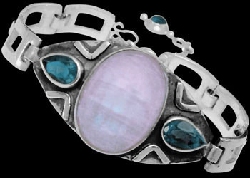 Sterling Silver Bracelets - Rainbow Moonstone, Topaz and Sterling Silver Bracelets MBB01 - Womens Jewelry