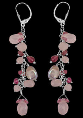 Rose Quartz, Pink Tourmaline, Grey Pearl, .925 Sterling Silver Earrings E1147