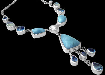 Silver Jewelry - Larimar, Blue Topaz, Rainbow Moonstone and Sterling Silver Necklaces N959 :  mens jewelry silver jewelry silver rings sterling silver jewellery