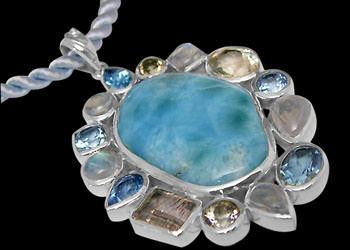 Larimar, Rainbow Moonstone, Topaz, Cherry Topaz and Sterling Silver Pendants PD-885 :  mens jewelry silver jewelry silver rings sterling silver jewellery