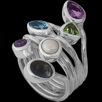 Silver Jewelry - Labradorite, Topaz, Peridot, Amethyst, Pearl, Iolite and Sterling Silver Ring R966