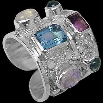 Silver Jewelry - Green Tourmalin, Topaz, Rainbow Moonstone, Amethyst and Sterling Silver Ring R-SN2 :  sterling silver sterling silver jewelry womans jewelry silver jewelry