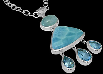 Silver Jewelry - Larimar, Blue Topaz, Aquamarine and Sterling Silver Necklaces N1299