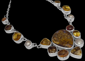 Silver Jewelry - Boulder Opal, Dendritic Quartz, Citrine, Pink Tourmaline, Smokey Quartz, Pearl and Sterling Silver Necklaces N1299