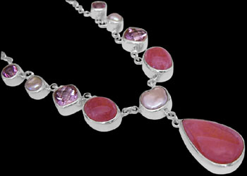 Silver Jewelry - Rhodochrosite, Pink Topaz, White Pearl and Sterling Silver Necklaces N959