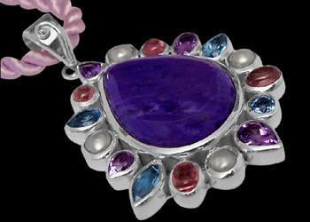 Sugalite, Pink Tourmaline, Topaz, Amethyst, White Pearl and Sterling Silver Pendants PD-885