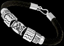 Pandora Style Leather Bracelets with Sterling Silver Beads