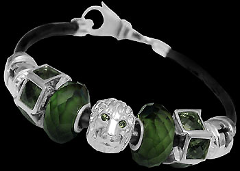 Silver Jewelry - Green, Gold Glass Beads, Cubic Zirconia Sterling Silver Beads and Leather bracelet BP110 :  mens jewelry silver jewelry silver rings sterling silver jewellery