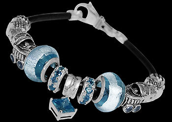Silver Jewelry - Blue Glass Beads, Cubic Zirconia Sterling Silver Beads and Leather bracelet BP112 :  sterling silver titanium jewelry silver pendants sterling silver jewellery