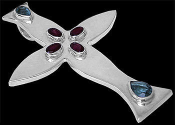 Religious Jewelry - Garnet, Topaz and .925 Sterling Silver Crosses MP016