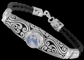 Men's Jewelry - Rainbow, Synthetic Leather and Sterling Silver Bracelet B709 - Sterling Silver Jewelry :  mens jewelry sterling silver sterling silver jewelry silver bracelets