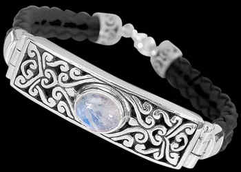 Men's Jewelry - Rainbow, Synthetic Leather and Sterling Silver Bracelet B710 - Sterling Silver Jewelry :  mens jewelry sterling silver sterling silver jewelry silver bracelets
