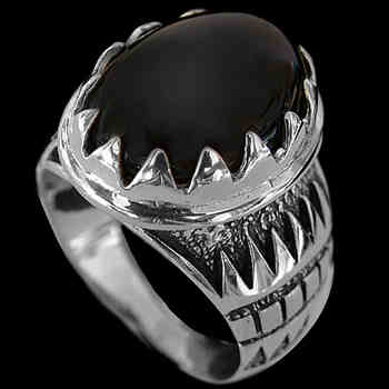 Men's Jewelry: Onyx and Sterling Silver Rings R689