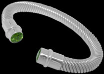 Sterling Silver and Peridot Cable Bracelets, Peridot Jewelry