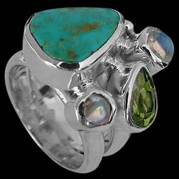 Turquoise, Pearl, Peridot, Rainbow Moonstone and Sterling Silver Ring MR-1112