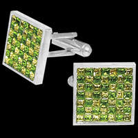 Stainless Steel and Cubic Zirconia, Mens Cufflinks
