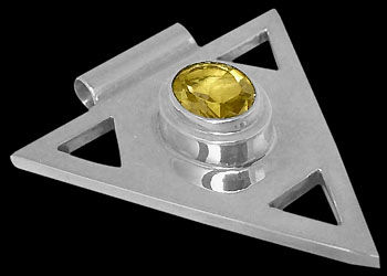 Citrine and Sterling Silver Triangle Pendant MP097cit :  mens jewelry silver jewelry silver rings sterling silver jewellery