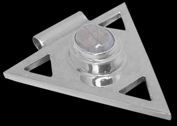 Rainbow Moonstone and Sterling Silver Triangle Pendant MP097rms :  mens jewelry silver jewelry silver rings sterling silver jewellery