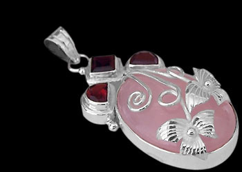 Sterling Silver Pendants - Garnet, Rainbow Moonstone and Sterling Silver Pendant MP035