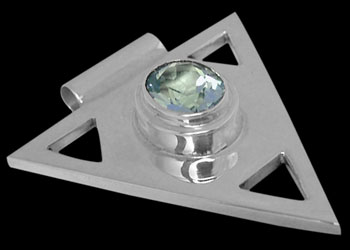 Sky Blue Topaz and Sterling Silver Triangle Pendant MP097sky :  mens jewelry silver jewelry silver rings sterling silver jewellery