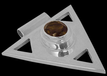 Smoky Quartz and Sterling Silver Triangle Pendant MP097sq