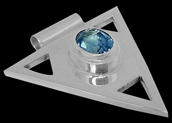 Swiss Blue Topaz and Sterling Silver Triangle Pendant MP097sw :  mens jewelry silver jewelry silver rings sterling silver jewellery
