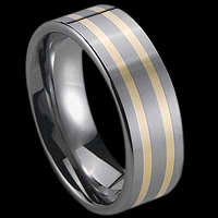 Gold and Silver Inlay Tungsten Rings