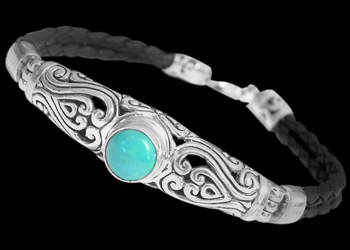 Men's Jewelry - Turquoise, Synthetic Leather and Sterling Silver Bracelet B709 - Sterling Silver Jewelry :  mens jewelry sterling silver sterling silver jewelry silver bracelets